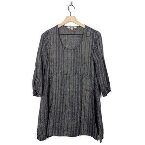 Flax Linen Black Tunic 3/4 Sleeve Petite Blouse